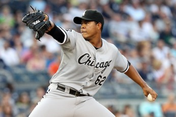 June 29, 2012; Bronx, NY, USA; Chicago White Sox starting pitcher Jose Quintana (62) throws a pitch during the first inning of a game against the New York Yankees at Yankee Stadium. Mandatory Credit: Brad Penner-US PRESSWIRE