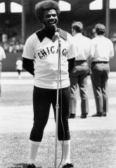 Lamar Johnson sings the national anthem prior to game.